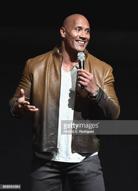 Actor Dwayne Johnson speaks onstage during the CinemaCon 2017 Gala Opening Night Event Sony Pictures Highlights its 2017 Summer and Beyond Films for...