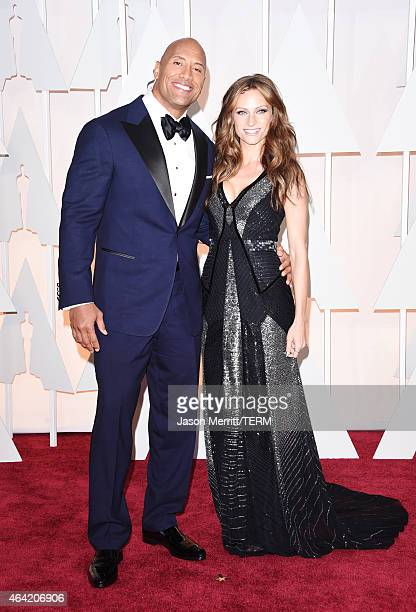 Actor Dwayne 'The Rock' Johnson and singer Lauren Hashian attend the 87th Annual Academy Awards at Hollywood Highland Center on February 22 2015 in...