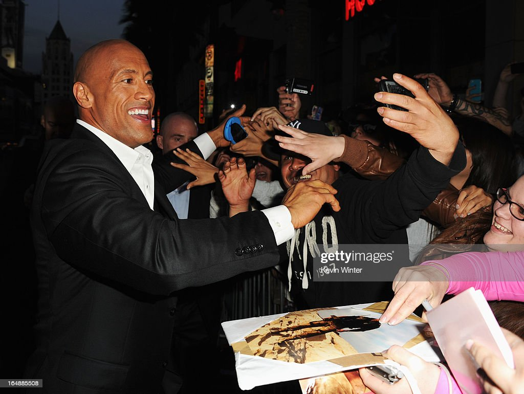 Actor Dwayne 'The Rock' Johnson attends the premiere of Paramount Pictures' 'G.I. Joe:Retaliation' at TCL Chinese Theatre on March 28, 2013 in Hollywood, California.