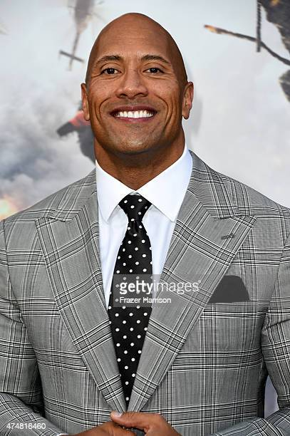 Actor Dwayne 'The Rock' Johnson attends the premiere of Warner Bros Pictures' 'San Andreas' at the TCL Chinese Theatre on May 26 2015 in Hollywood...