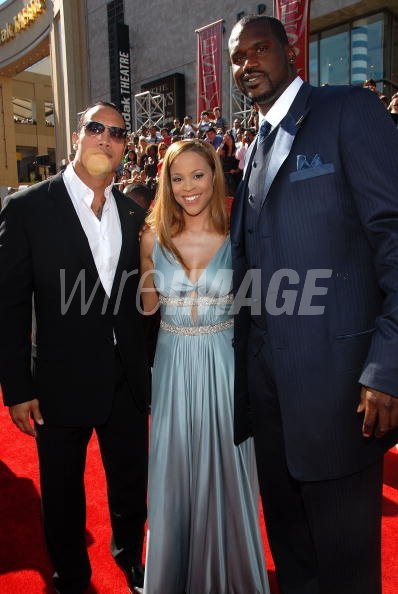 Actor Dwayne The Rock Johnson Shaunie Oneal And Nba Player