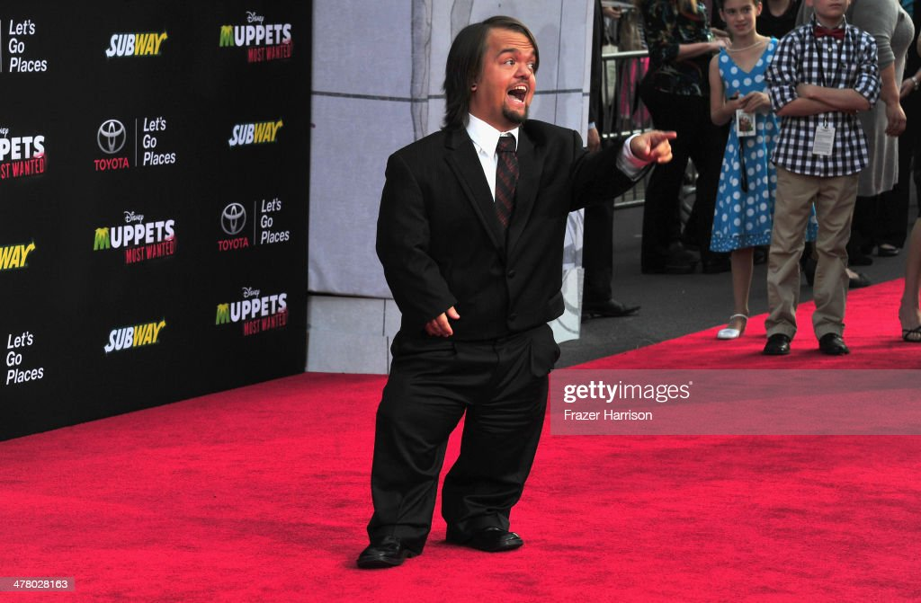 Actor Dylan 'Hornswoggle' Postle arrives at the premiere Of Disney's 'Muppets Most Wanted' at the El Capitan Theatre on March 11, 2014 in Hollywood, California.