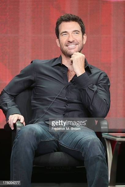 Actor Dylan McDermott speaks onstage during the 'Hostages' panel discussion at the CBS Showtime and The CW portion of the 2013 Summer Television...
