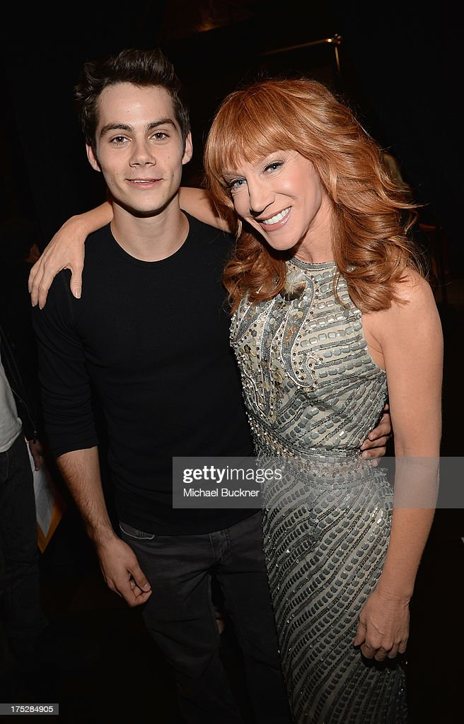 Actor Dylan O'Brien (L) and television personality personality Kathy Griffin attend CW Network's 2013 Young Hollywood Awards presented by Crest 3D White and SodaStream held at The Broad Stage on August 1, 2013 in Santa Monica, California.