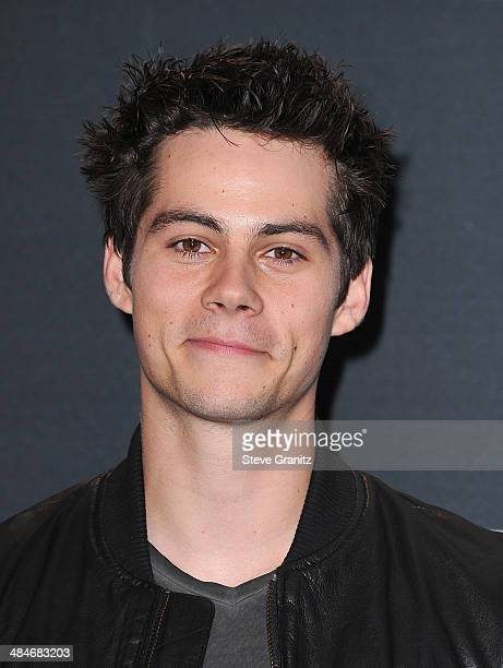 Actor Dylan O'Brien poses in the press room during the 2014 MTV Movie Awards at Nokia Theatre LA Live on April 13 2014 in Los Angeles California