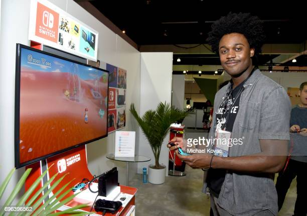 Actor Echo Kellum plays Super Mario Odyssey at the Nintendo booth at the 2017 E3 Gaming Convention at Los Angeles Convention Center on June 15 2017...