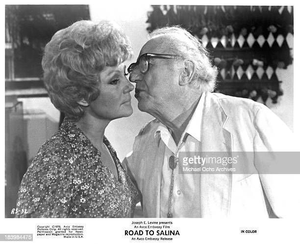 Actor Ed Begley and actress Rita Hayworth on set of the movie 'Road to Salina' in 1970