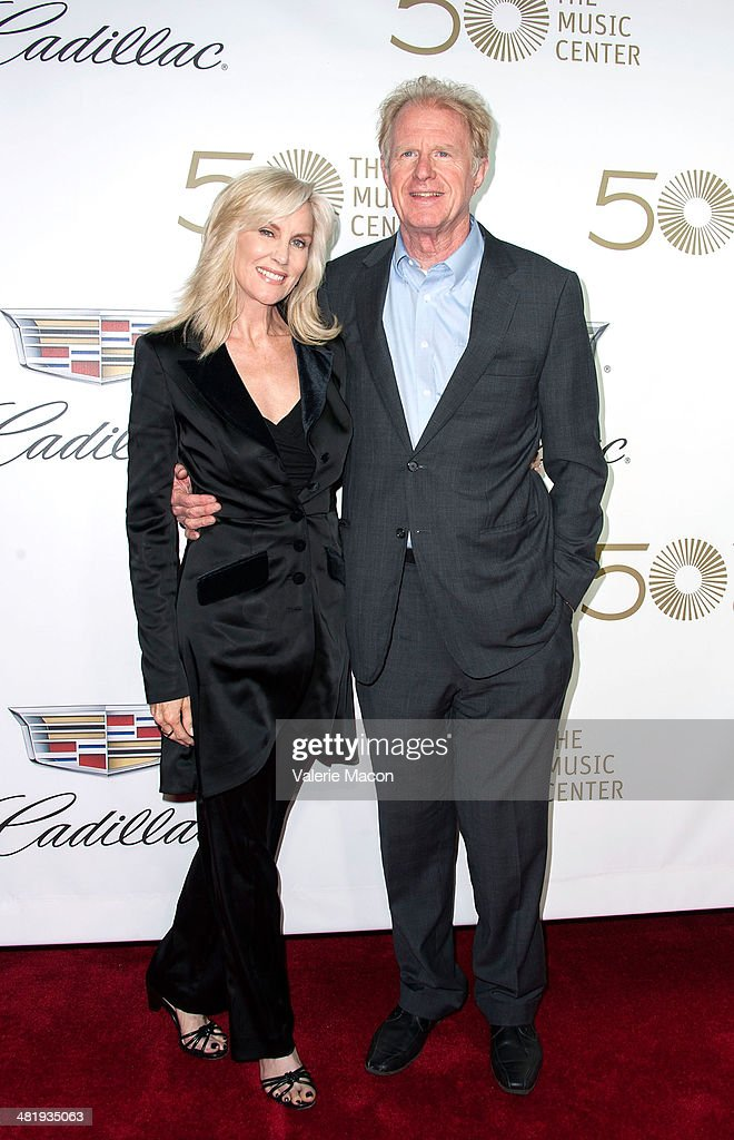Actor Ed Begley( R) and wife Rachelle Carson arrive at The Music Center's 50th Anniversary Launch Party at Dorothy Chandler Pavilion on April 1, 2014 in Los Angeles, California.