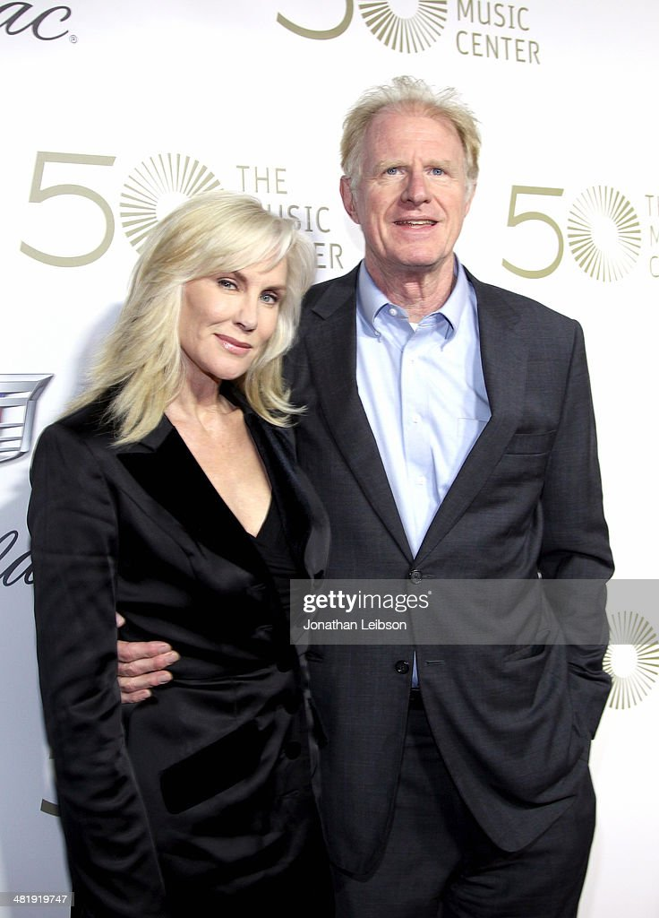 Actor Ed Begley( R) and wife Rachelle Carson arrives at The Music Center's 50th Anniversary Launch Party held at The Dorothy Chandler Pavilion on April 1, 2014 in Los Angeles, California.
