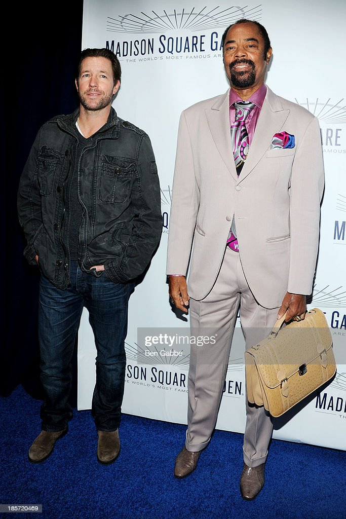 Actor Ed Burns (L) and former professional basketball player Walt 'Clyde' Frazier attend the Madison Square Garden Transformation Unveiling at Madison Square Garden on October 24, 2013 in New York City.