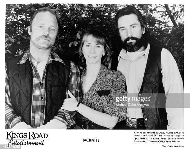 Actor Ed Harris actress Kathy Baker and actor Robert De Niro pose for the movie 'Jacknife' circa 1989
