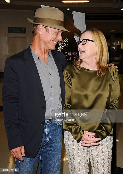 Actor Ed Harris and actress Amy Madigan attend the premiere of 'Frontera' at Landmark Theatre on August 21 2014 in Los Angeles California