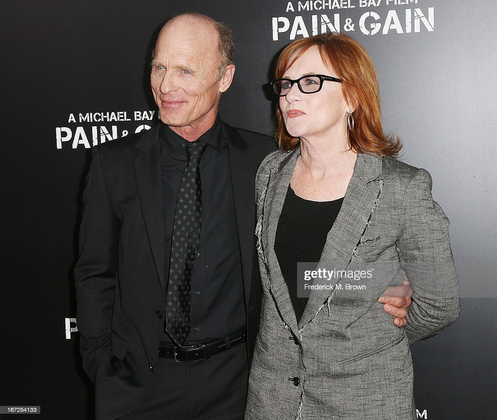 Actor <a gi-track='captionPersonalityLinkClicked' href=/galleries/search?phrase=Ed+Harris&family=editorial&specificpeople=215262 ng-click='$event.stopPropagation()'>Ed Harris</a> (L) and <a gi-track='captionPersonalityLinkClicked' href=/galleries/search?phrase=Amy+Madigan&family=editorial&specificpeople=220590 ng-click='$event.stopPropagation()'>Amy Madigan</a> attend the premiere of Paramount Pictures' 'Pain & Gain' at the TCL Chinese Theatre on April 22, 2013 in Hollywood, California.