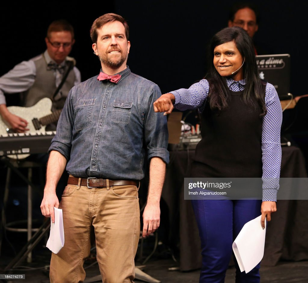 Actor <a gi-track='captionPersonalityLinkClicked' href=/galleries/search?phrase=Ed+Helms&family=editorial&specificpeople=662337 ng-click='$event.stopPropagation()'>Ed Helms</a> (L) and actress <a gi-track='captionPersonalityLinkClicked' href=/galleries/search?phrase=Mindy+Kaling&family=editorial&specificpeople=743884 ng-click='$event.stopPropagation()'>Mindy Kaling</a> perform onstage at The Young Storytellers Foundation's Annual 'Biggest Show' on October 12, 2013 in Santa Monica, California.