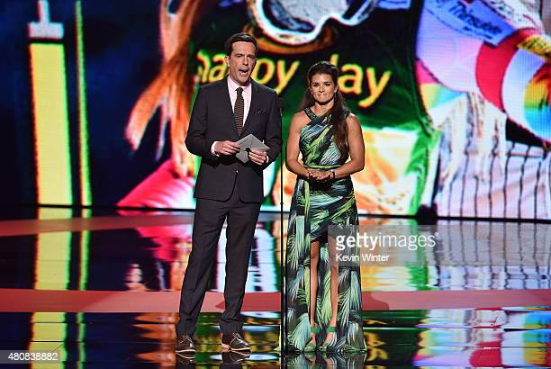 Actor Ed Helms and race car driver Danica Patrick speak onstage during The 2015 ESPYS at Microsoft Theater on July 15 2015 in Los Angeles California