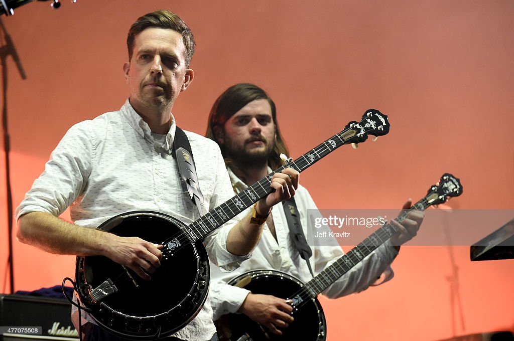 Actor Ed Helms and Winston Marshall of Mumford Sons perform onstage at What Stage during Day 3 of the 2015 Bonnaroo Music And Arts Festival on June...