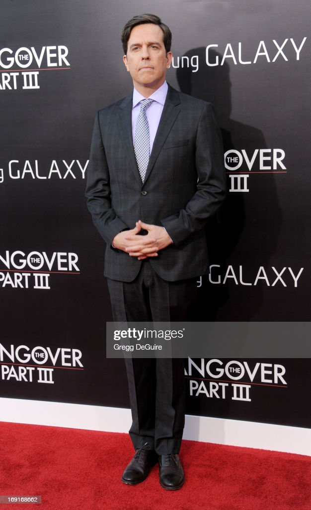 Actor <a gi-track='captionPersonalityLinkClicked' href=/galleries/search?phrase=Ed+Helms&family=editorial&specificpeople=662337 ng-click='$event.stopPropagation()'>Ed Helms</a> arrives at the Los Angeles premiere of 'The Hangover III' at Mann's Village Theatre on May 20, 2013 in Westwood, California.