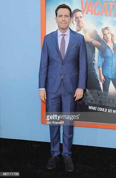 Actor Ed Helms arrives at the Los Angeles Premiere 'Vacation' at Regency Village Theatre on July 27 2015 in Westwood California