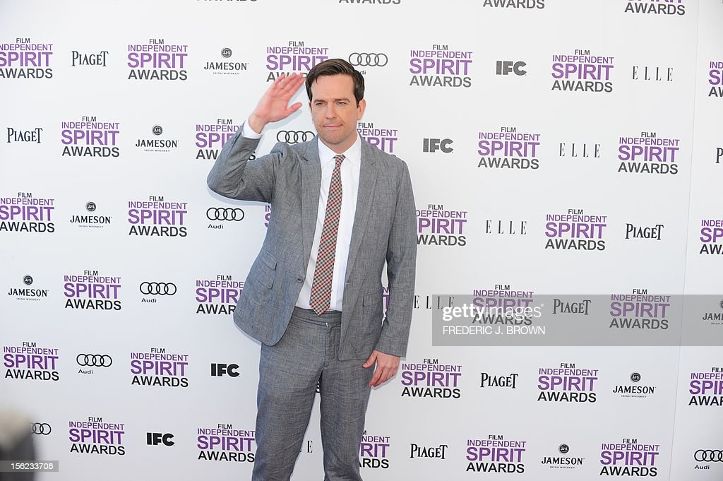Actor Ed Helms arrives on the red carpet on February 25, 2012 for the Independent Spirit Awards in Santa Monica, California.