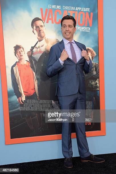 Actor Ed Helms attends the premiere of Warner Bros 'Vacation' at Regency Village Theatre on July 27 2015 in Westwood California