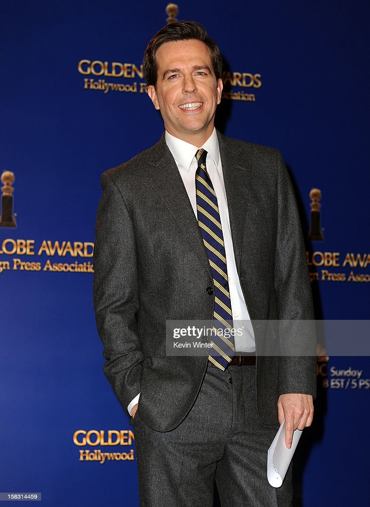Actor Ed Helms onstage during the 70th Annual Golden Globes Awards Nominations at the Beverly Hilton Hotel on December 13, 2012 in Los Angeles, California.