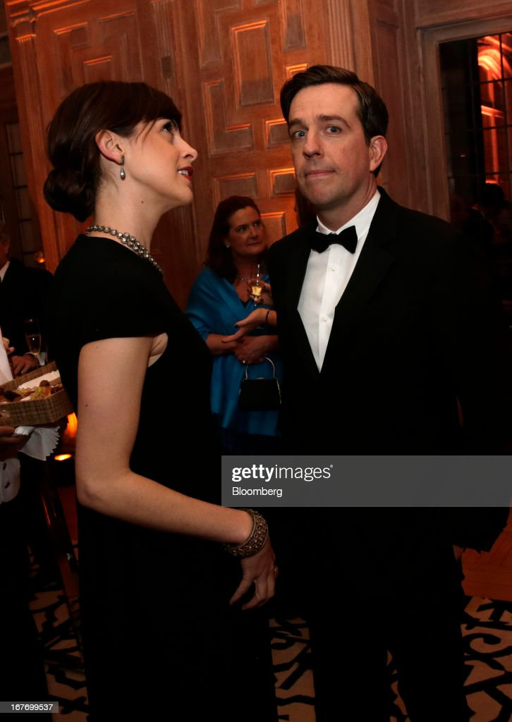 Actor Ed Helms, right, and guest attend the Bloomberg Vanity Fair White House Correspondents' Association (WHCA) dinner afterparty in Washington, D.C., U.S., on Saturday, April 27, 2013. The 99th annual dinner raises money for WHCA scholarships and honors the recipients of the organization's journalism awards. Photographer: Scott Eells/Bloomberg via Getty Images