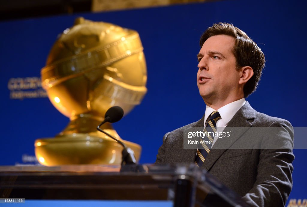 Actor Ed Helms speaks onstage during the 70th Annual Golden Globes Awards Nominations at the Beverly Hilton Hotel on December 13, 2012 in Los Angeles, California.