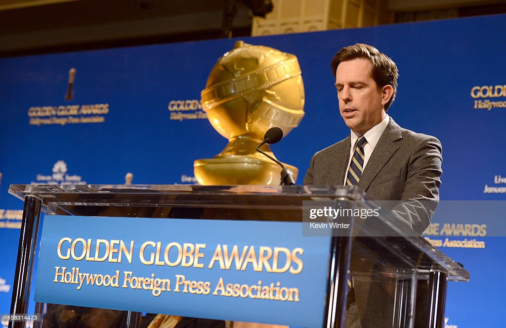 Actor <a gi-track='captionPersonalityLinkClicked' href=/galleries/search?phrase=Ed+Helms&family=editorial&specificpeople=662337 ng-click='$event.stopPropagation()'>Ed Helms</a> speaks onstage during the 70th Annual Golden Globes Awards Nominations at the Beverly Hilton Hotel on December 13, 2012 in Los Angeles, California.