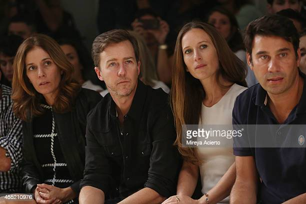 Actor Ed Norton and producer Shauna Robertson attend Osklen runway show during MercedesBenz Fashion Week Spring 2015 at Pier 59 on September 10 2014...