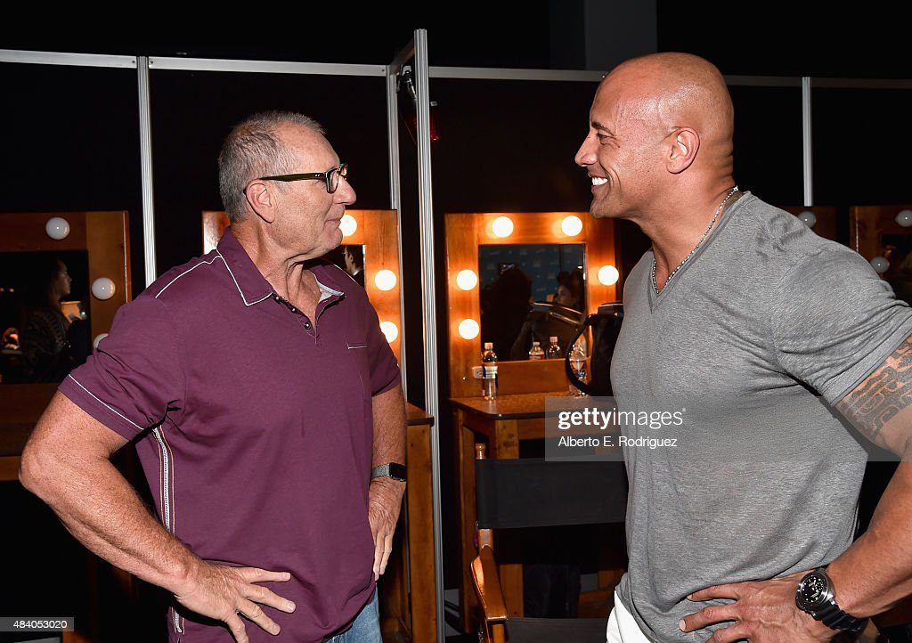 Actor Ed O'Neill of FINDING DORY (L) and actor Dwayne Johnson of MOANA took part today in 'Pixar and Walt Disney Animation Studios: The Upcoming Films' presentation at Disney's D23 EXPO 2015 in Anaheim, Calif.