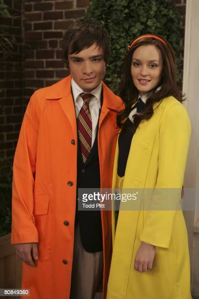 Actor Ed Westwick and actress Leighton Meester on the set of the TV show Gossip Girl at Silver Cup Studios in Long Island City New York