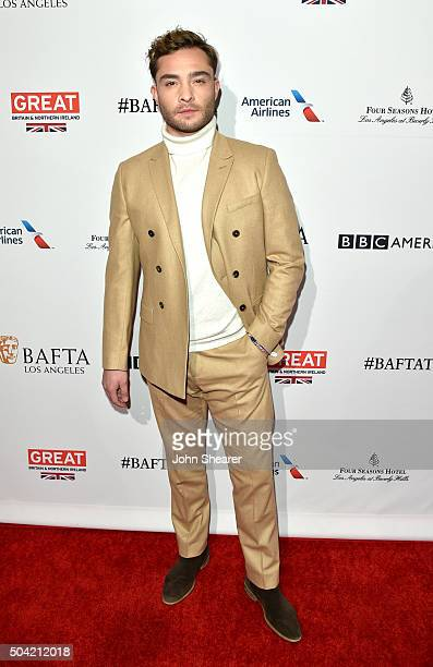 Actor Ed Westwick attends the BAFTA Awards Season Tea Party at Four Seasons Hotel Los Angeles at Beverly Hills on January 9 2016 in Los Angeles...