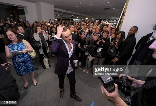 Actor Ed Westwick attends the Saks Fifth Avenue celebration of Fashion's Night Out at Saks Fifth Avenue on September 10 2010 in New York City