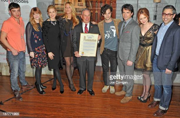 Actor Ed Westwick cocreator Stephanie Savage Kelly Rutherford Blake Lively New York City Mayor Michael R Bloomberg actors Penn Badgley Matthew Settle...