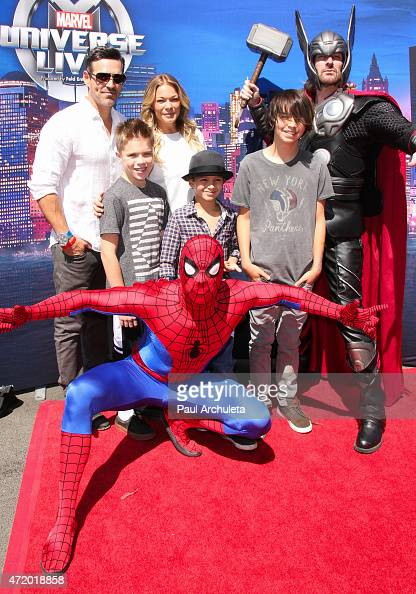 Actor Eddie Cibrian and Singer LeAnn Rimes attend the celebrity premiere of Marvel Universe LIVE at The Forum on May 2 2015 in Inglewood California