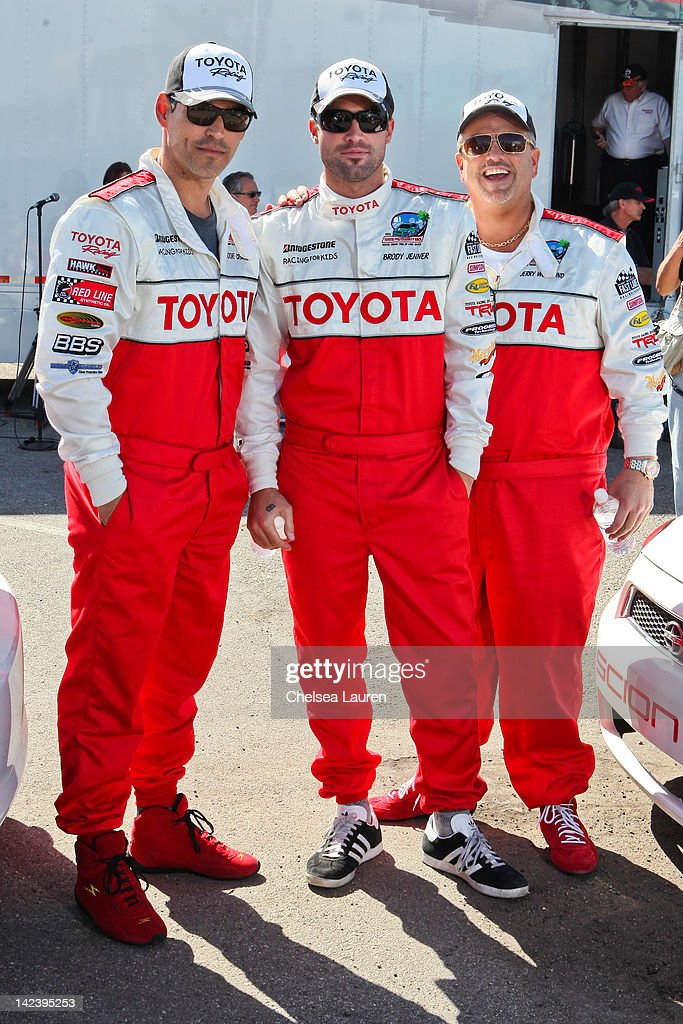 Actor Eddie Cibrian, TV personality Brody Jenner and nightclub owner Jerry Westlund attend the 36th annual Toyota pro/celebrity race press day on April 3, 2012 in Long Beach, California.