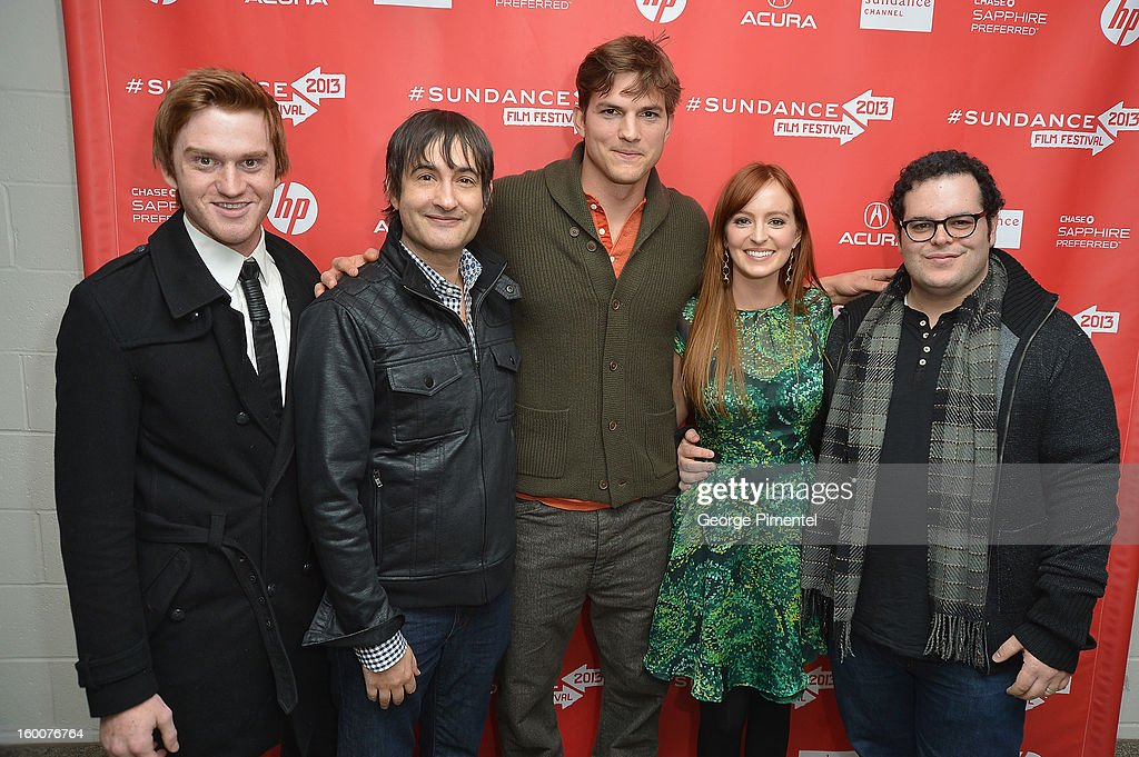 Actor Eddie Hassell, director Joshua Michael Stern and actors Ashton Kutcher, Ahna O'Reilly and Josh Gad attend the 'jOBS' Premiere during the 2013 Sundance Film Festival at Eccles Center Theatre on January 25, 2013 in Park City, Utah.