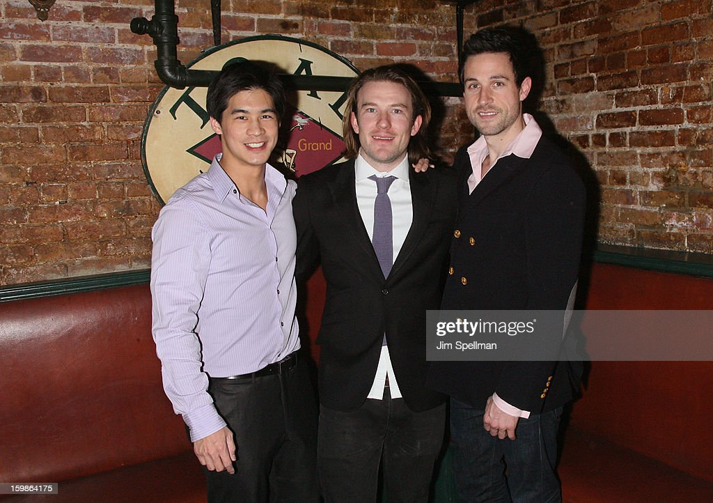Actor Eddie Liu, actor/writer Michael Rabe and actor Rhett Owen attend the after party for the opening night of 'The Future Is Not What It Was' at Toad Hall on January 21, 2013 in New York City.