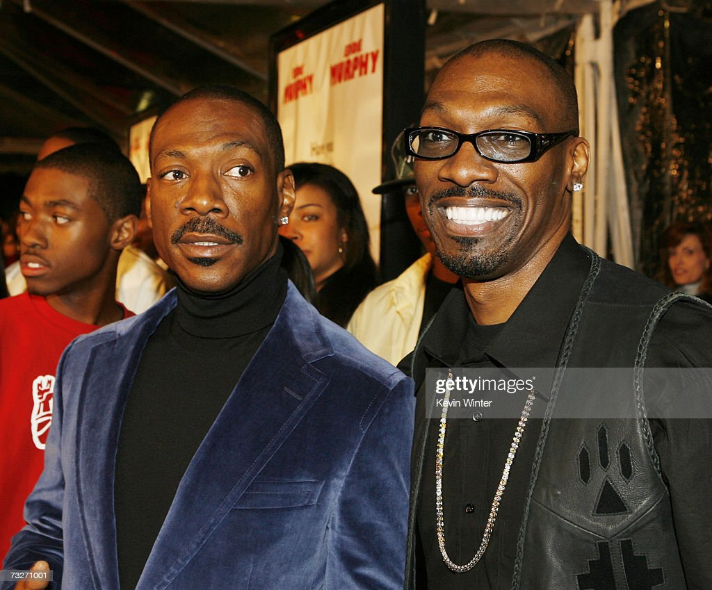 Actor Eddie Murphy and brother, screenwriter Charlie Murphy pose at the premiere of Dreamworks' 'Norbit' at the Mann Village Theatre on February 9, 2007 in Los Angeles, California.