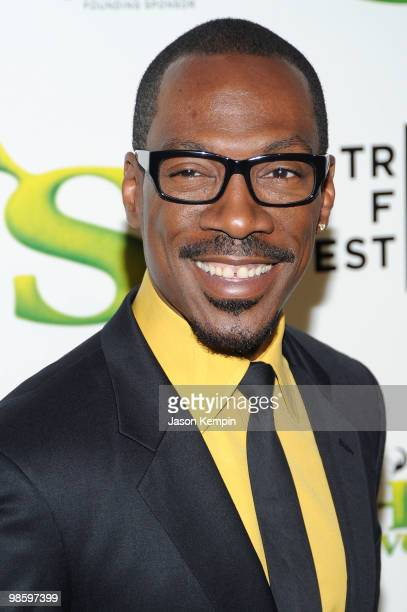 Actor Eddie Murphy attends the 2010 Tribeca Film Festival opening night premiere of 'Shrek Forever After' at the Ziegfeld Theatre on April 21 2010 in...