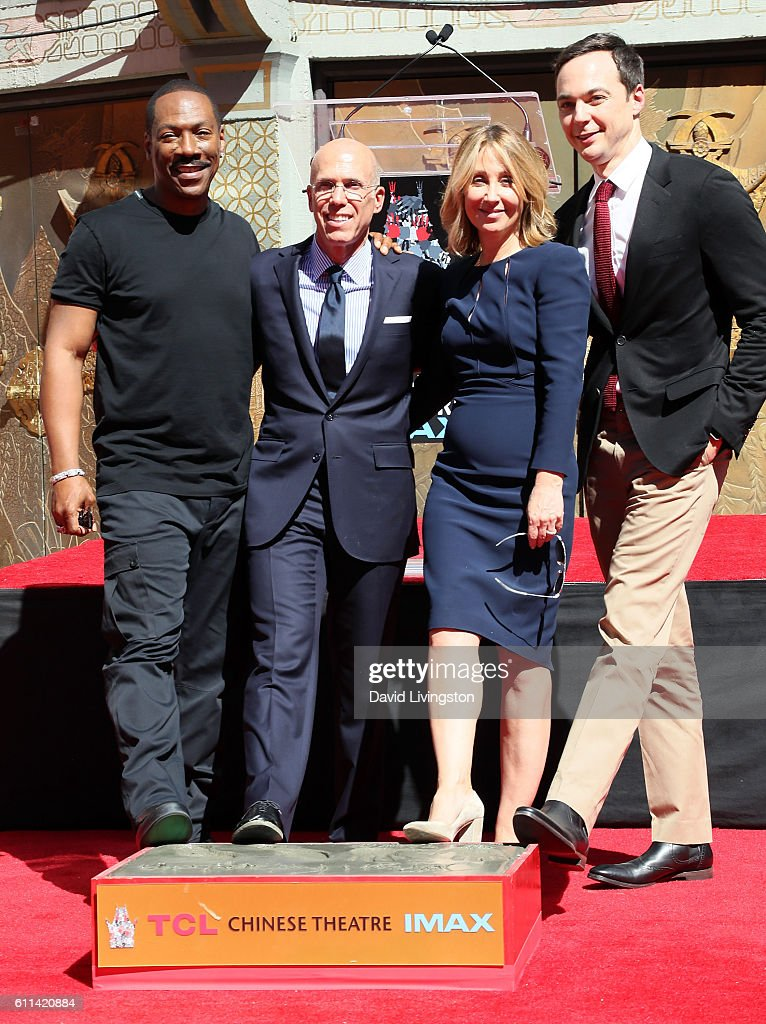 Actor Eddie Murphy, producer Jeffrey Katzenberg, 20th Century Fox Co-Chairman Stacey Snider and actor Jim Parsons attend the Jeffrey Katzenberg Hand and Footprint Ceremony at TCL Chinese Theatre on September 29, 2016 in Hollywood, California.