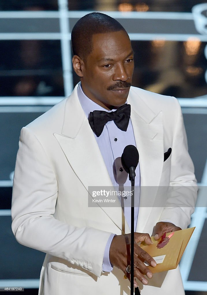 Actor Eddie Murphy speaks onstage during the 87th Annual Academy Awards at Dolby Theatre on February 22 2015 in Hollywood California