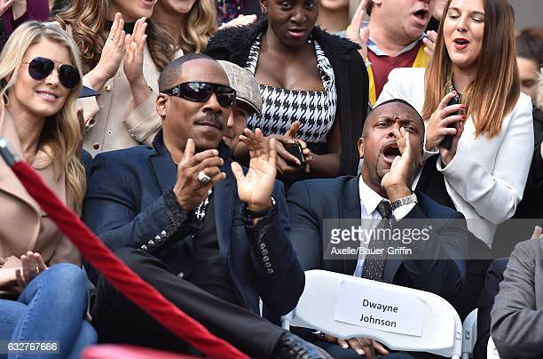 Actor Eddie Murphy wife Paige Butcher and actor Chris Tucker attend the ceremony honoring Brett Ratner with a Star on the Hollywood Walk of Fame on...
