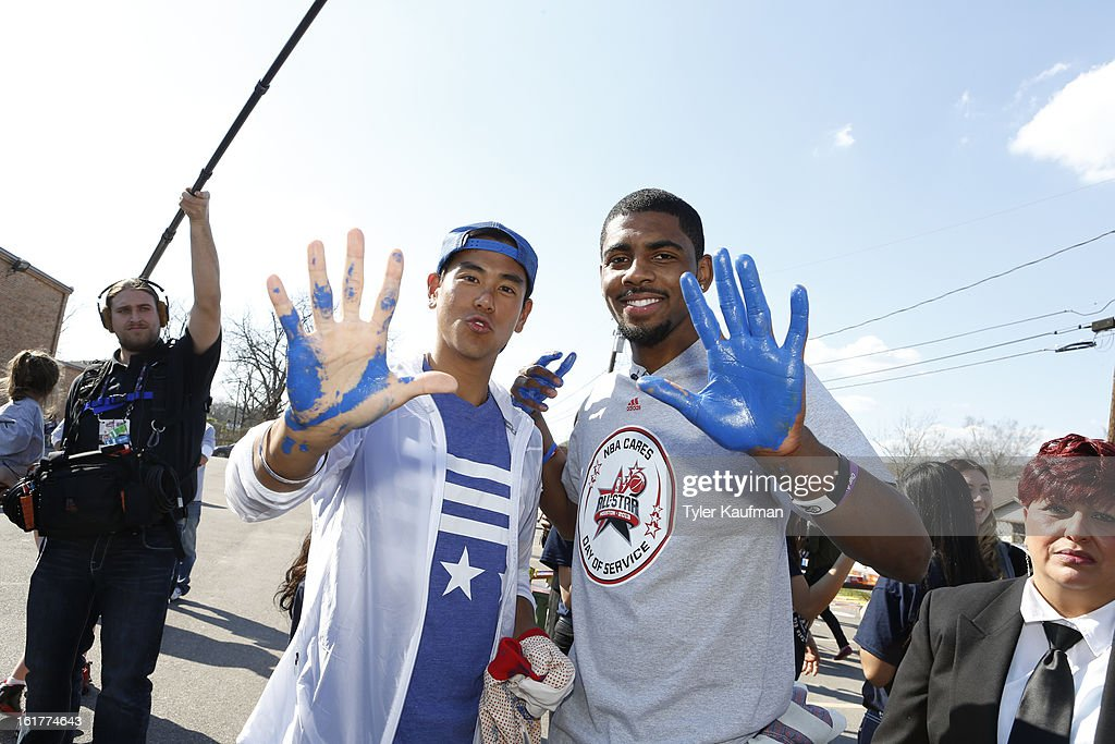 Actor Eddie Peng meets Kyrie Irving #2 of the Cleveland Cavaliers at the 2013 NBA Cares Day of Service at the Playground Build with KaBOOM! on February 15, 2013 in Houston, Texas.