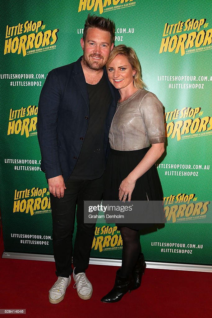 Actor Eddie Perfect and wife Lucy Cochran arrive ahead of the opening night for the Little Shop of Horrors at the Comedy Theatre on May 5, 2016 in Melbourne, Australia.