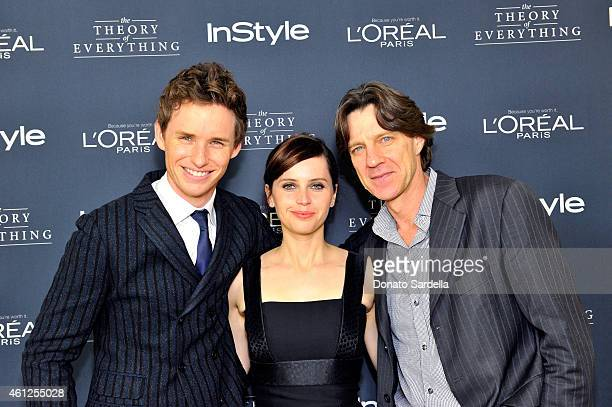 Actor Eddie Redmayne actress Felicity Jones and director James Marsh attend InStyle Focus Features 2015 Golden Globe Nominations party for 'The...