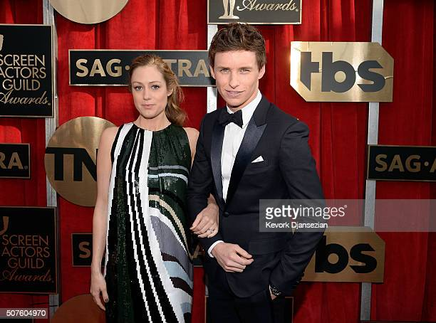 Actor Eddie Redmayne and Hannah Bagshawe attend the 22nd Annual Screen Actors Guild Awards at The Shrine Auditorium on January 30 2016 in Los Angeles...