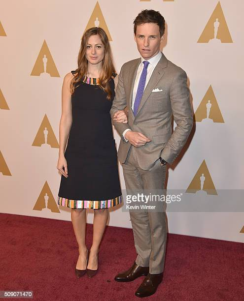 Actor Eddie Redmayne and Hannah Bagshawe attend the 88th Annual Academy Awards nominee luncheon on February 8 2016 in Beverly Hills California