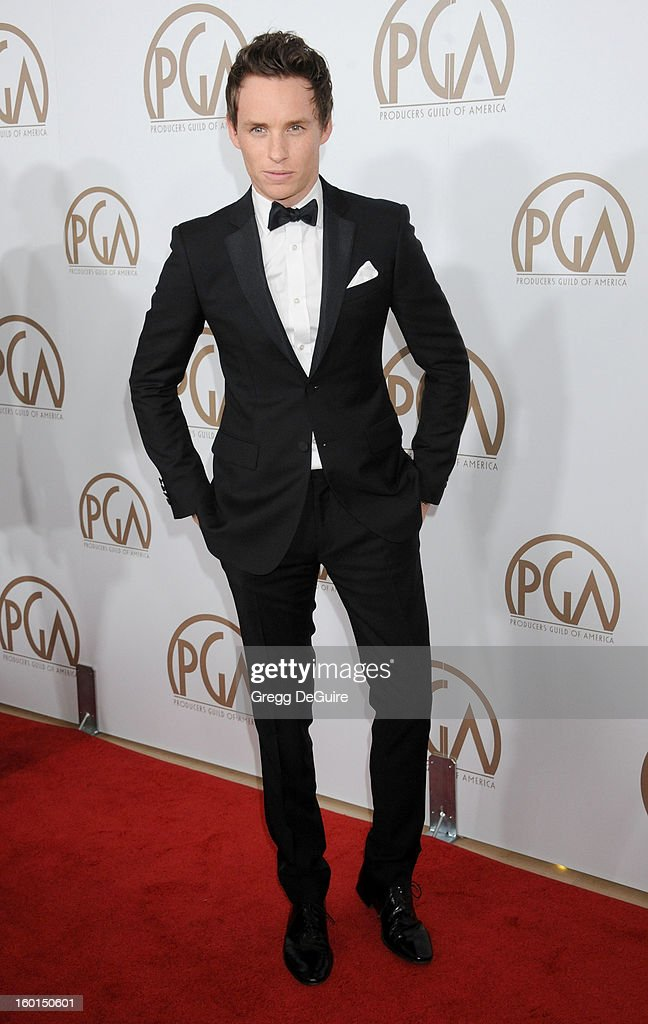 Actor <a gi-track='captionPersonalityLinkClicked' href=/galleries/search?phrase=Eddie+Redmayne&family=editorial&specificpeople=2554844 ng-click='$event.stopPropagation()'>Eddie Redmayne</a> arrives at the 24th Annual Producers Guild Awards at The Beverly Hilton Hotel on January 26, 2013 in Beverly Hills, California.