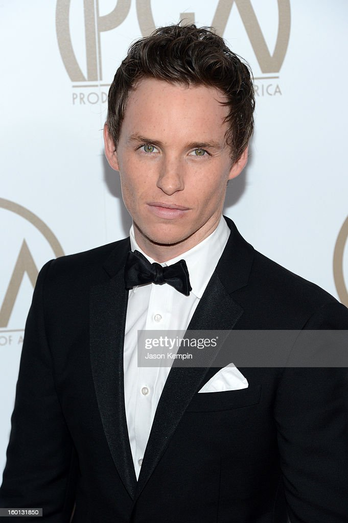 Actor <a gi-track='captionPersonalityLinkClicked' href=/galleries/search?phrase=Eddie+Redmayne&family=editorial&specificpeople=2554844 ng-click='$event.stopPropagation()'>Eddie Redmayne</a> arrives at the 24th Annual Producers Guild Awards held at The Beverly Hilton Hotel on January 26, 2013 in Beverly Hills, California.